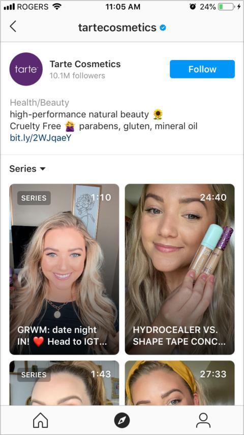 igtv-negocios-ejemplo-tarte-cosmetics