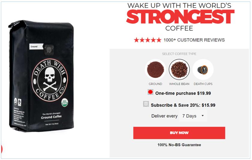 ejemplo de upsell de marca de café