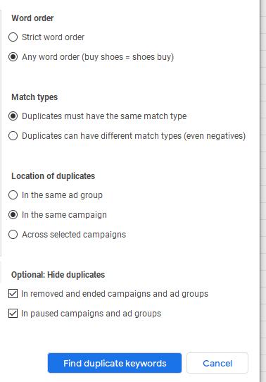 Configuración funcionalidad google ads para keywords duplicadas