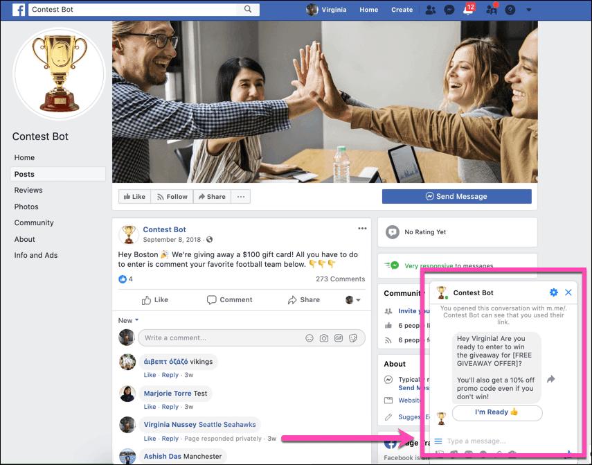ejemplos sorteo en facebook messenger
